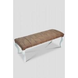 Berrado Beyaz Ayaklı 120 Cm Çizgili Lüks Bench Puf Brown
