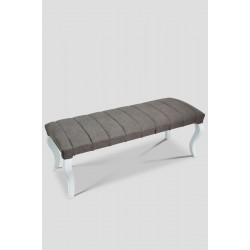 Berrado Beyaz Ayaklı 120 Cm Çizgili Lüks Bench Puf Grey